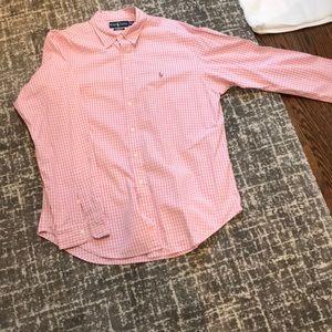 Men's XL Ralph Lauren pink & white check oxford